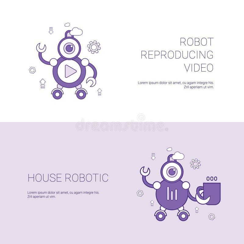 Vídeo de reproducción del robot y bandera robótica del web de la plantilla del concepto de la casa con el espacio de la copia stock de ilustración