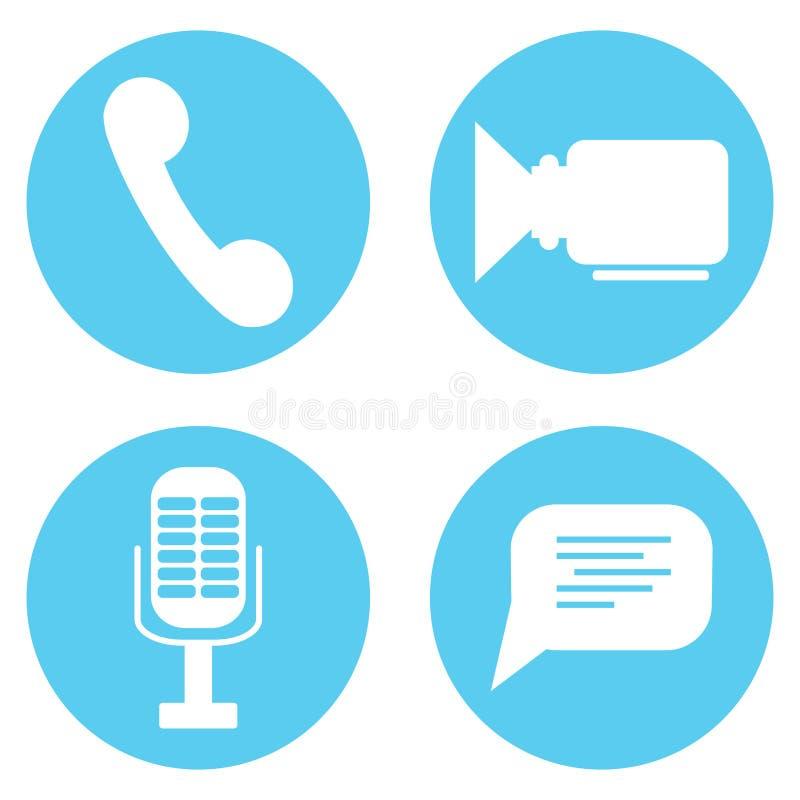 Vídeo determinado del icono y mic, burbuja del discurso y teléfono audios libre illustration