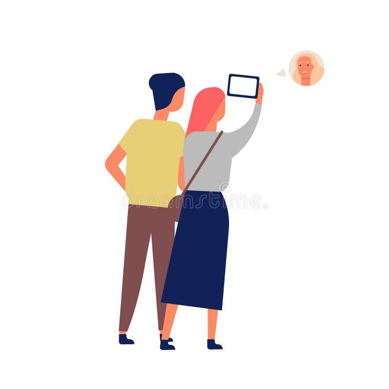 Vídeo divertido lindo de los pares que charla con el amigo vía smartphone Hombre joven y mujer que usa el teléfono móvil para la  ilustración del vector