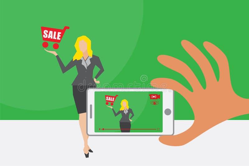 Vídeo em direto e conceito em linha do mercado ilustração stock