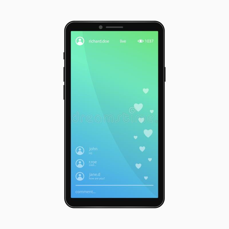 Vídeo em direto que flui a página Molde do smartphone com bate-papo app da vídeo em direto na tela Vetor ilustração royalty free