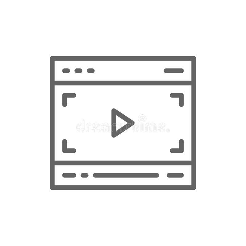 V?deo en el navegador, l?nea icono de la p?gina de las multimedias libre illustration
