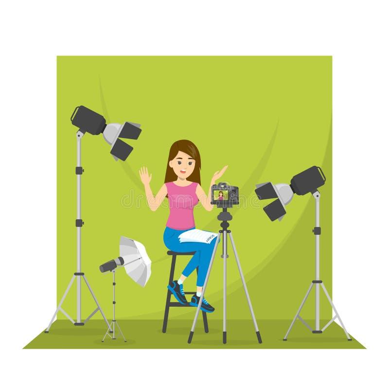 Vídeo femenino del tiroteo del blogger para el blog libre illustration