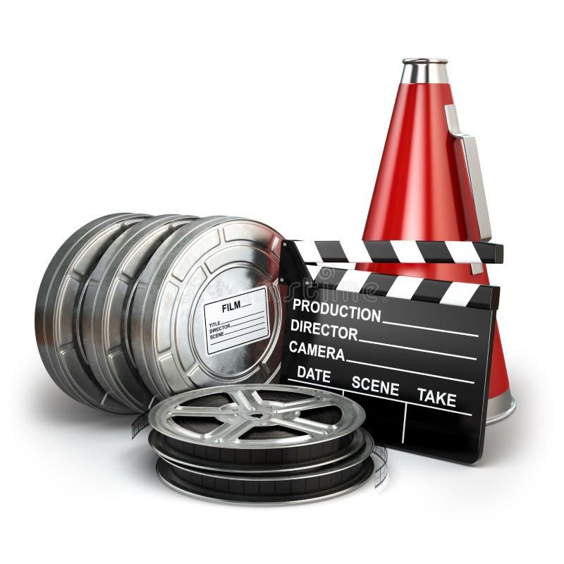 Vídeo, filme, conceito da produção do vintage do cinema ilustração stock