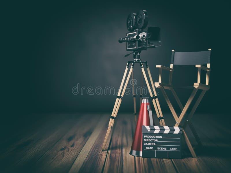Vídeo, filme, conceito do cinema Câmera retro, clapperboard e cadeira do diretor 3d ilustração stock