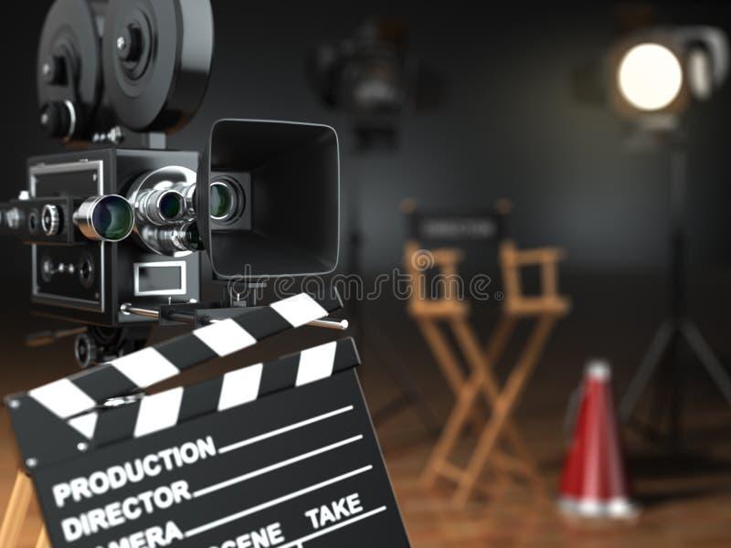 Vídeo, filme, conceito do cinema Câmera retro, flash, clapperboard ilustração royalty free