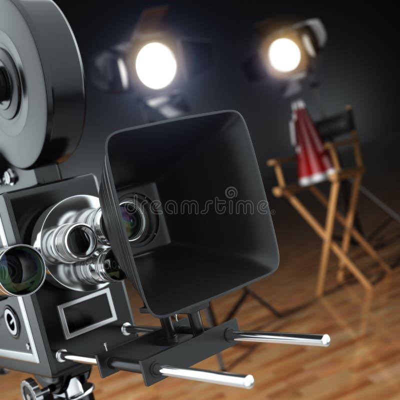 Vídeo, filme, conceito do cinema Câmera retro, flash e diretor ilustração stock