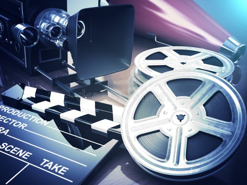 Vídeo, filme, conceito do vintage do cinema Câmera retro, carretéis e cl ilustração do vetor