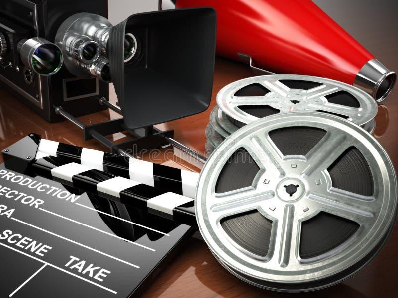 Vídeo, filme, conceito do vintage do cinema Câmera retro, carretéis e cl ilustração royalty free
