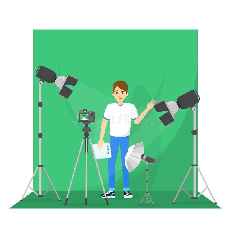 Vídeo masculino del tiroteo del blogger para el blog stock de ilustración