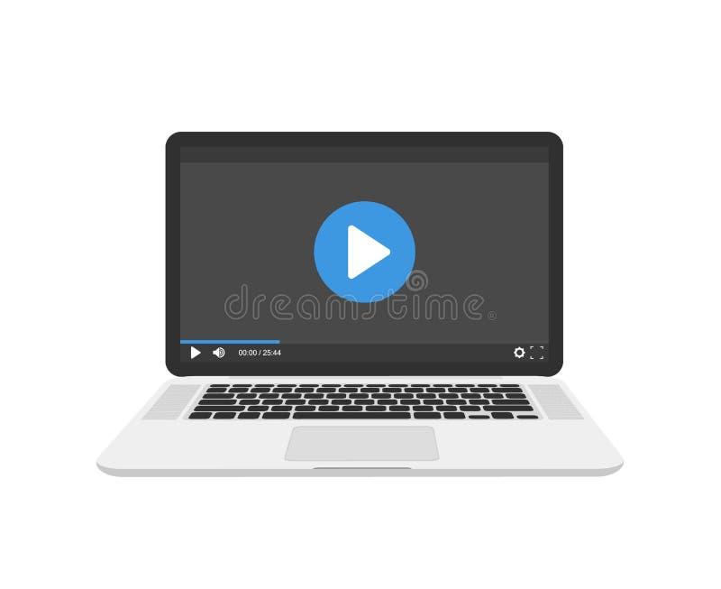 Vídeo na ilustração do vetor do portátil, conceito webinar em linha, ideia da observação tutorial, ensino eletrónico ilustração royalty free