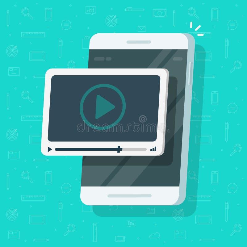 Vídeo no vetor do telefone celular, tela lisa do smartphone dos desenhos animados com conceito webinar em linha, ideia de olhar o ilustração stock