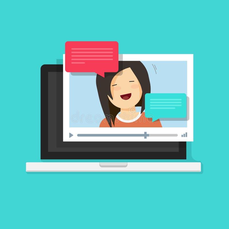Vídeo que charla en línea en el ejemplo del vector del ordenador stock de ilustración