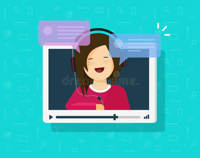 Vídeo que conversa a ilustração em linha do vetor, janela lisa da vídeo dos desenhos animados com discurso da menina feliz e dos  ilustração royalty free