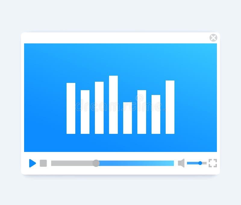 Vídeo, relação audio do jogador, molde moderno ilustração royalty free