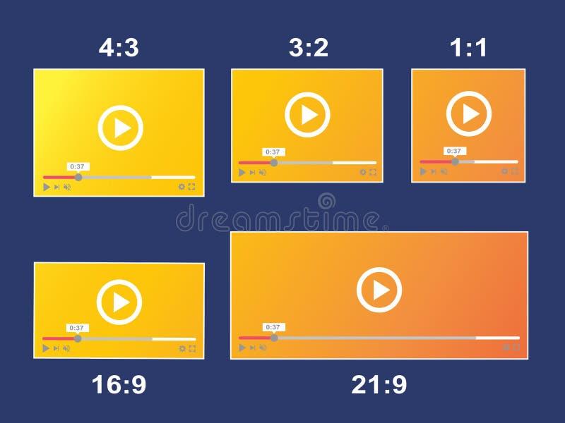 Vídeo responsivo del tamaño de la escala de relación de aspecto stock de ilustración