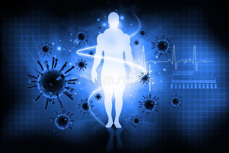 Vírus com corpo humano ilustração stock