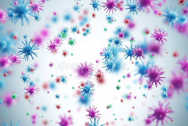 Vírus cor-de-rosa e azuis, fundo branco ilustração stock