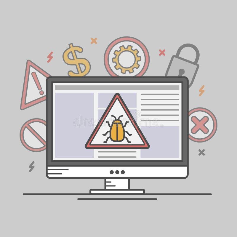 Vírus de computador da ilustração do vetor ilustração royalty free