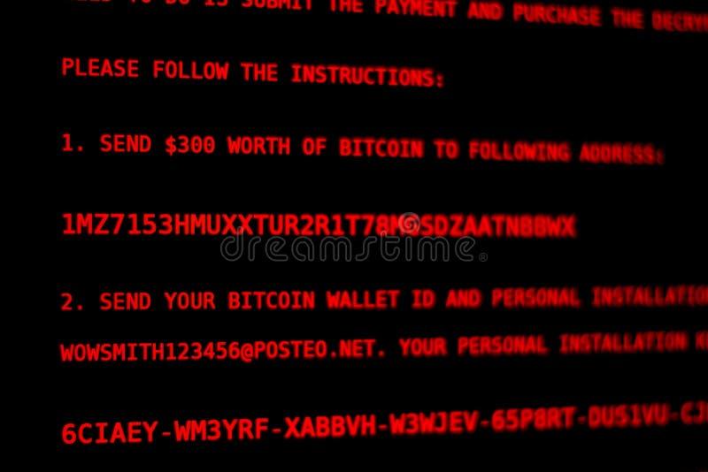 Vírus de computador Petya A Dinheiro da extorsão da tela fotos de stock