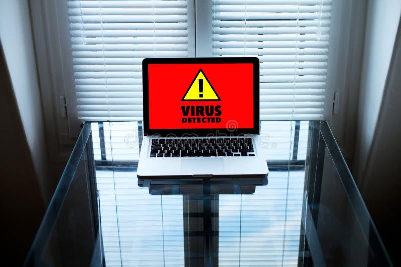 Vírus de computador, sinal alerta na tela foto de stock royalty free
