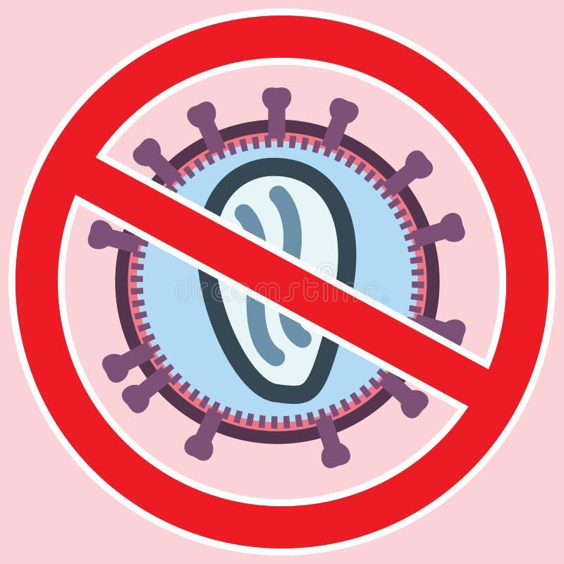 Vírus do SIDA VIH atrás do sinal proibido vermelho ilustração royalty free