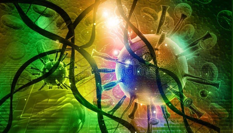 Vírus e ADN ilustração royalty free