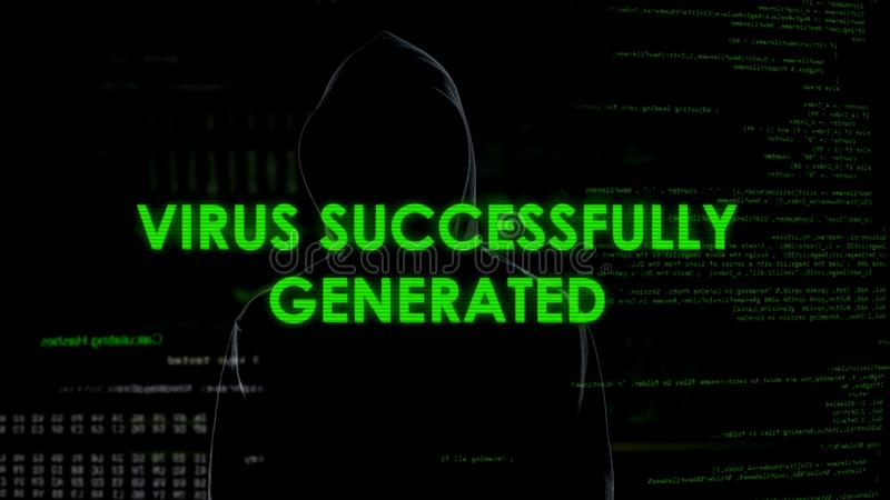 Vírus gerado com sucesso, homem no malware de lançamento preto, ataque secreto dos dados foto de stock royalty free