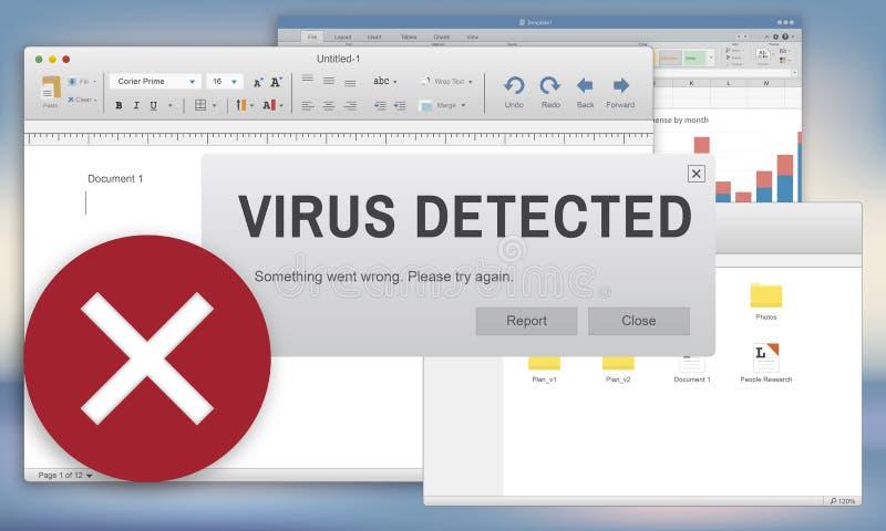 Vírus inseguro conceito inseguro detectado do corte ilustração stock