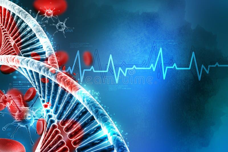 Vírus movente com ADN e plaqueta ilustração royalty free
