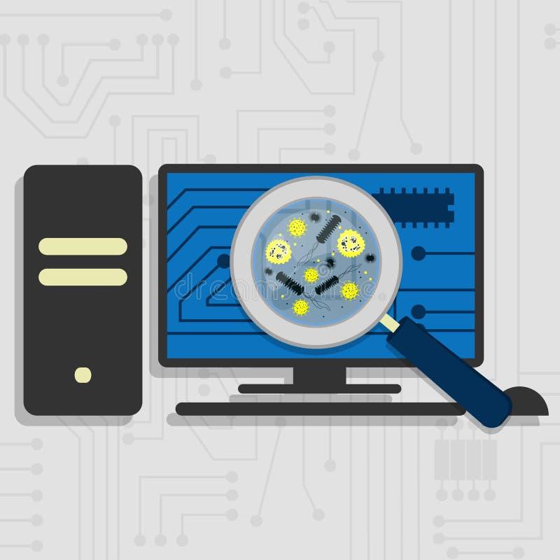 Vírus no hardware do PC ilustração stock