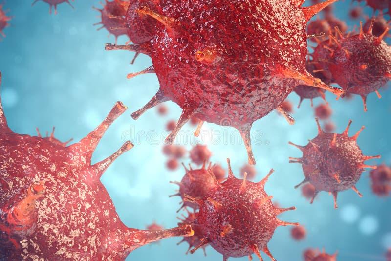 vírus patogênicos da ilustração 3d que causam a infecção no organismo do anfitrião, manifestação viral da doença, fundo abstrato  ilustração stock