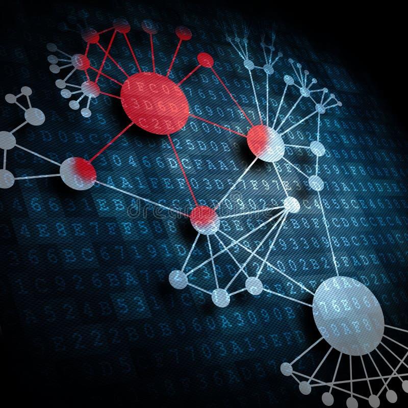 Vírus que espalha em uma rede ilustração stock