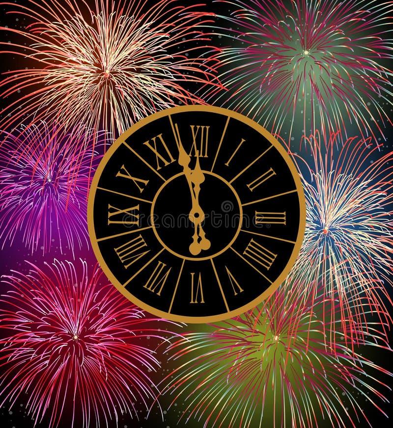 Víspera de los fuegos artificiales de la Feliz Año Nuevo ilustración del vector