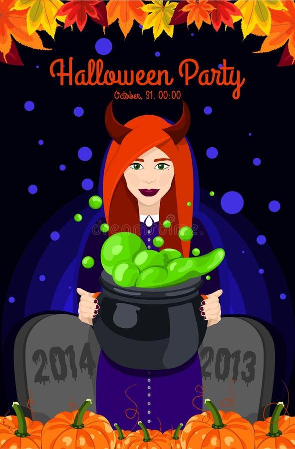 Víspera de Todos los Santos feliz Cartel, postal para Halloween Bruja hermosa, brujas caldera, sombrero de la bruja, poción, cala stock de ilustración