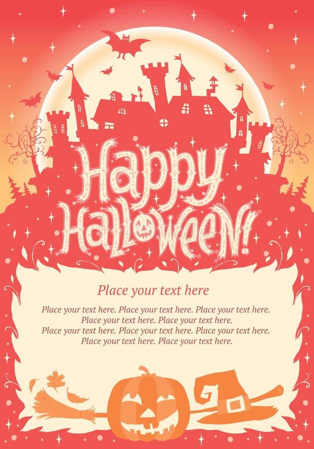 Víspera de Todos los Santos feliz Cartel, tarjeta o fondo de Halloween para la invitación del partido de Halloween libre illustration