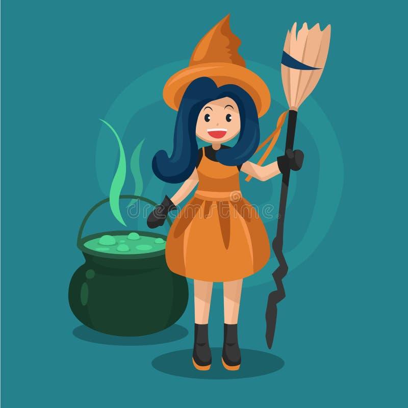 Víspera de Todos los Santos feliz Ejemplo del carácter de la bruja con la caldera de las brujas y la poción verde ilustración del vector