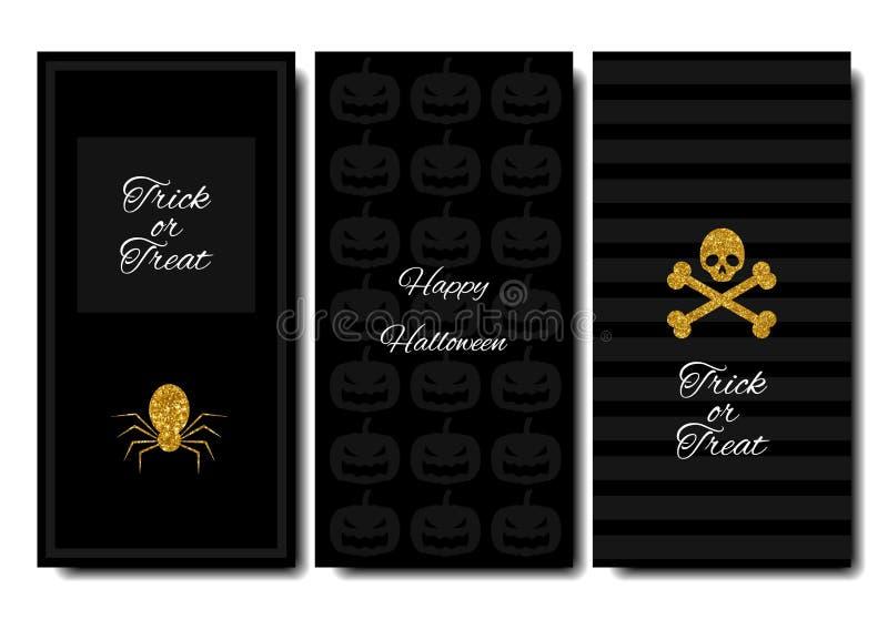Víspera de Todos los Santos feliz Fondo de la vertical de la bandera de las colecciones Diseño con estilo Artículos del oro libre illustration