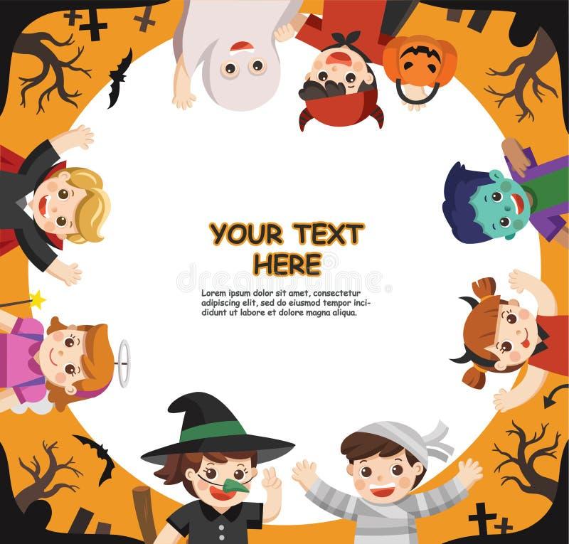 Víspera de Todos los Santos feliz Niños vestidos en el vestido de lujo de Halloween libre illustration