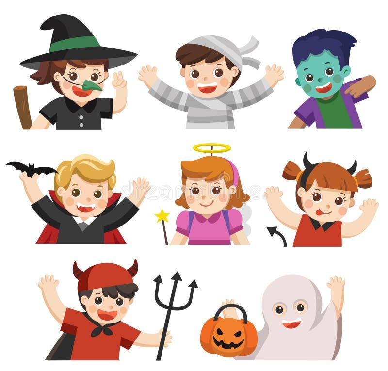 Víspera de Todos los Santos feliz Niños vestidos en el vestido de lujo de Halloween stock de ilustración
