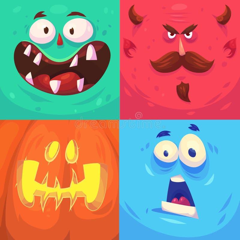 Víspera de Todos los Santos feliz Sistema de los caracteres de Halloween stock de ilustración