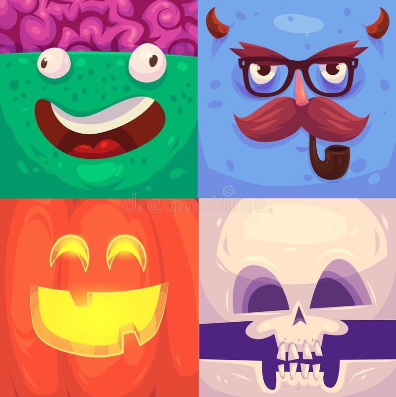 Víspera de Todos los Santos feliz Sistema de los caracteres de Halloween ilustración del vector
