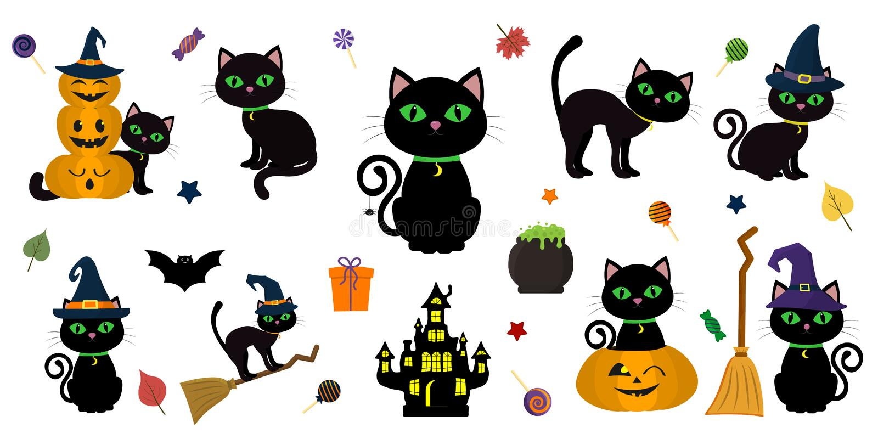 Víspera de Todos los Santos feliz Sistema mega del gato negro con los ojos verdes en diversas actitudes con una calabaza, en un p ilustración del vector