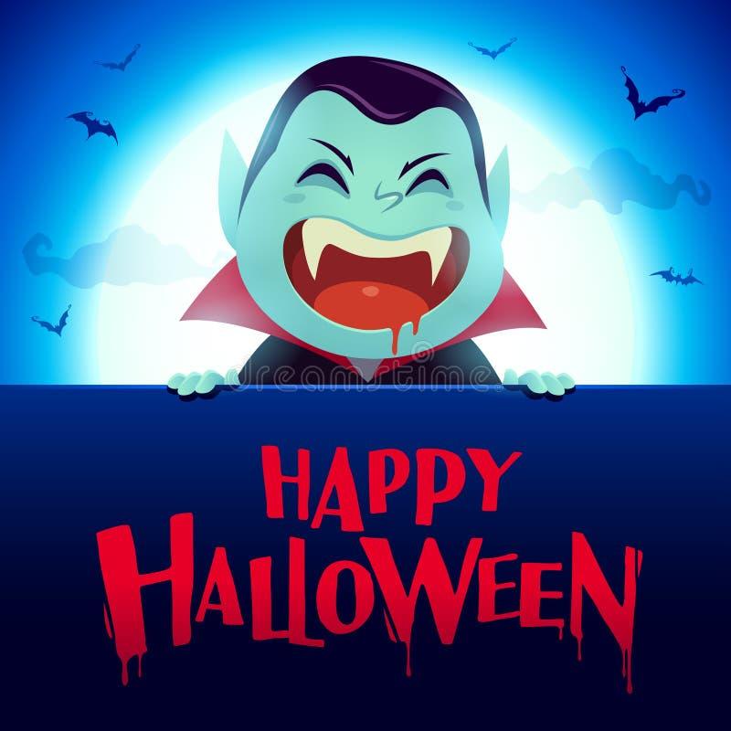 Víspera de Todos los Santos feliz Vampiro de Drácula con el letrero grande en el claro de luna stock de ilustración