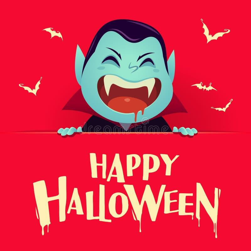 Víspera de Todos los Santos feliz Vampiro de Drácula con el letrero grande Vintage retro ilustración del vector