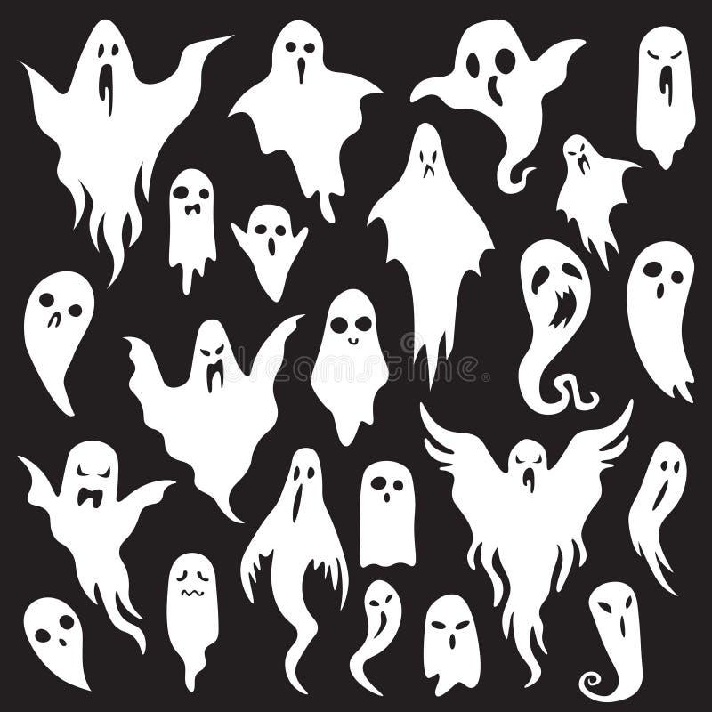 Víspera de Todos los Santos ghosts Monstruo fantasmal con la cara asustadiza del abucheo Sistema plano del icono del vector del f ilustración del vector