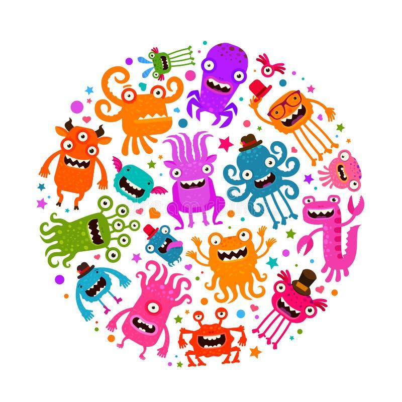 Víspera de Todos los Santos Monstruos o microbios lindos Ilustración del vector de la historieta stock de ilustración