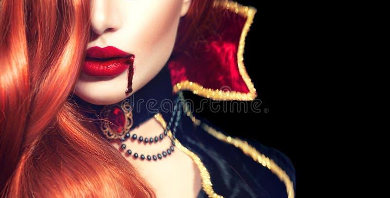 Víspera de Todos los Santos Retrato atractivo de la mujer del vampiro imagen de archivo libre de regalías
