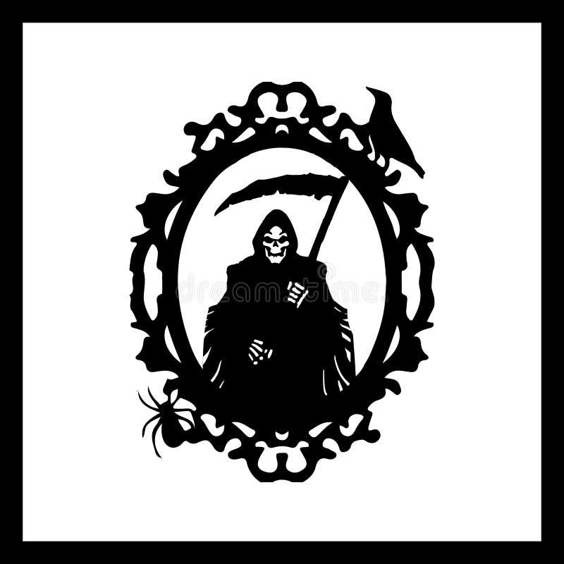 Víspera de Todos los Santos Siluetee la muerte con una guadaña en un marco, retrato encendido ilustración del vector