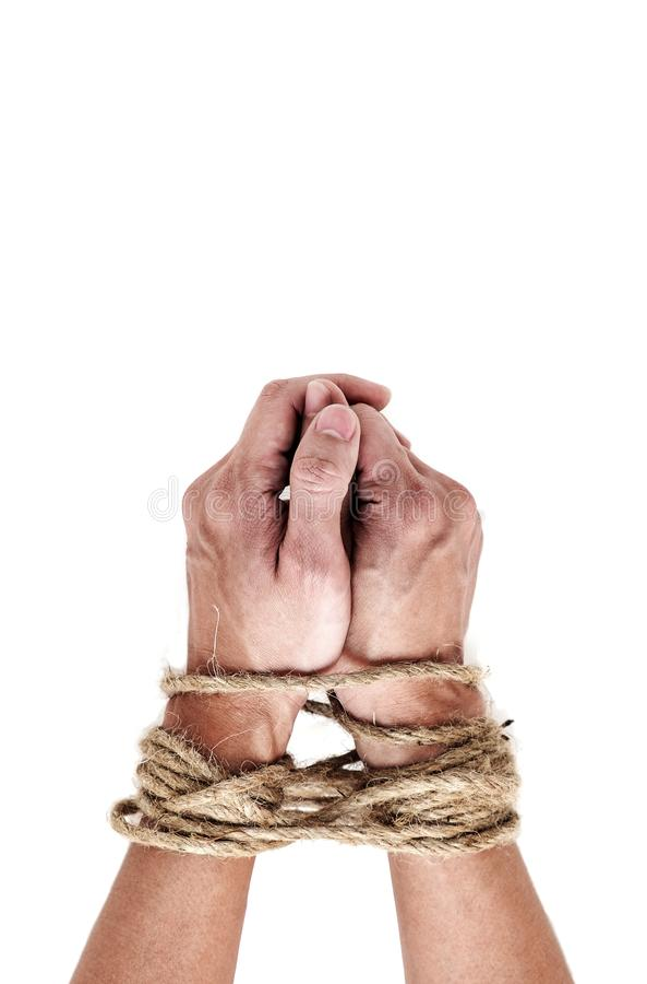 Vítima, escravo, mãos masculinas do prosoner amarradas pela corda grande isolada sobre foto de stock